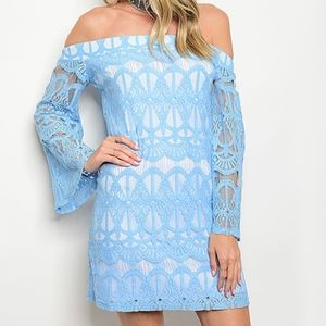 SALE Sheer-Accent Off-Shoulder Mini Dress